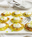 Zucchini Lemon Fritters with cheese and sauce Stock Photo