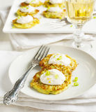 Zucchini Lemon Fritters With Cheese And Sauce Stock Photos