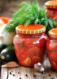 Zucchini marinated in tomato juice with onions and peppers Royalty Free Stock Photo