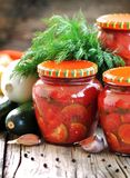 Zucchini marinated in tomato juice with onions and peppers Royalty Free Stock Photography