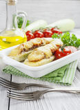 Zucchini with meat, tomatoes and cheese Stock Image