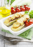 Zucchini with meat, tomatoes and cheese Royalty Free Stock Photos