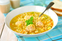 Zucchini and Meatball Soup. In a Deep Plate Royalty Free Stock Photo