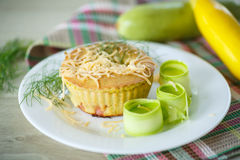 Zucchini muffins. Baked with cheese and bacon bits Stock Images