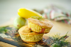 Zucchini muffins. Baked with cheese and bacon bits Royalty Free Stock Photos