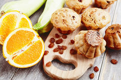 Zucchini muffins with raisins Stock Photo
