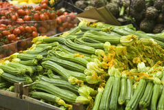 Zucchini na sprzedaży Fotografia Royalty Free