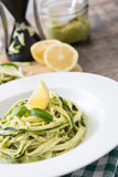 Zucchini noodles with pesto sauce Royalty Free Stock Images