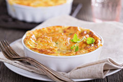 Zucchini and onion bake. With eggs and cheese royalty free stock photos