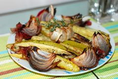 Zucchini and Onion Platter Stock Photo