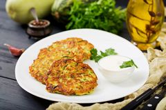Zucchini pancakes with parsley Royalty Free Stock Photography