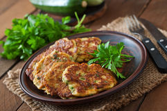 Zucchini pancakes with parsley Royalty Free Stock Images