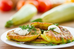 Zucchini pancakes Stock Photo