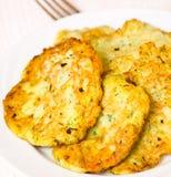 Zucchini pancakes Stock Photos