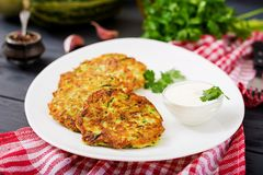 Free Zucchini Pancakes With Parsley Royalty Free Stock Photos - 101841608