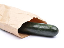 Zucchini in paper bag Stock Image