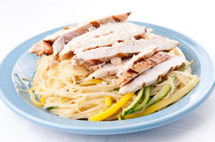 Zucchini pasta with fresh chicken and parmesan Royalty Free Stock Image