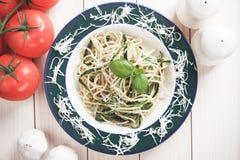Zucchini pasta. Italian zucchini pasta with basil and parmesan cheese Stock Photos