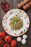 Zucchini pasta. Italian zucchini pasta with basil and parmesan cheese Stock Image