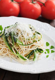 Zucchini pasta. Italian zucchini pasta with oregano and parmesan cheese Stock Images