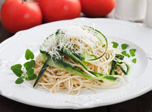 Zucchini pasta. Italian zucchini pasta with oregano and parmesan cheese Stock Image