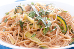 Zucchini pasta and whole wheat noodles Royalty Free Stock Images