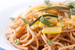 Zucchini pasta and whole wheat noodles Royalty Free Stock Image
