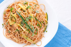 Zucchini pasta and whole wheat noodles Stock Image
