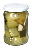 Zucchini pickled in glass jar Royalty Free Stock Photos