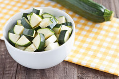 Zucchini pieces. In a bowl Stock Photography