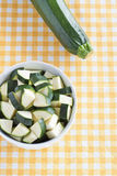 Zucchini pieces. In a bowl Stock Photos