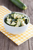 Zucchini pieces. In a bowl Stock Image