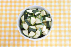 Zucchini pieces. In a bowl Royalty Free Stock Photos