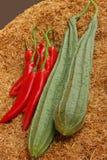 Zucchini- och chilideg på ricen Royaltyfri Fotografi