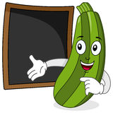 Zucchini & Recipe or Menu Blackboard. A funny cartoon zucchini character smiling with a blank blackboard, useful as recipe or menu, isolated on white background Stock Photos