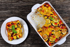 Zucchini, red bean, ham and cheese gratin Stock Photography