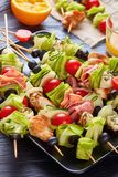 Kebab on skewers with meat and veggies stock photography