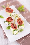Zucchini roll with cream Stock Photography
