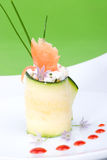 Zucchini Roll with smoked salmon Royalty Free Stock Images