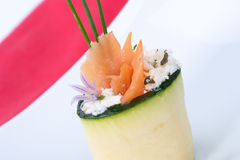 Zucchini Roll with smoked salmon Stock Image