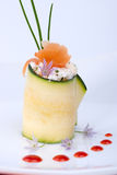 Zucchini Roll with smoked salmon Royalty Free Stock Photography