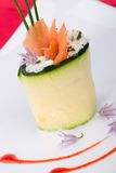 Zucchini Roll with smoked salmon Royalty Free Stock Photos