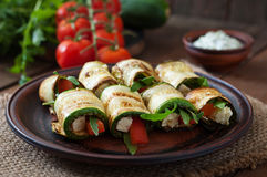 Zucchini rolls with cheese Royalty Free Stock Photos