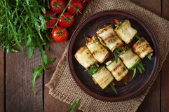 Zucchini rolls with cheese Royalty Free Stock Photography