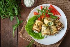 Zucchini rolls with cheese Stock Photo