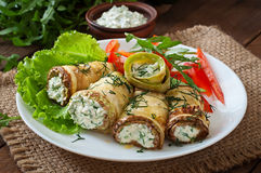 Zucchini rolls with cheese. And dill royalty free stock images