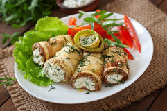 Zucchini rolls with cheese Royalty Free Stock Photo