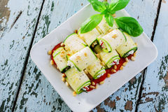 Zucchini rolls with feta cheese Royalty Free Stock Photo
