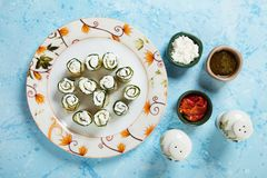 Zucchini rolls filled with cheese Stock Photo
