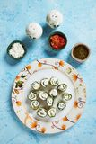 Zucchini rolls stuffed with cheese Stock Images